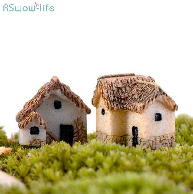 4pcs a lot Miniature Gardening Landscape Micro Village Stone Houses Thumbnail House Thatched Huts for Garden Decoration