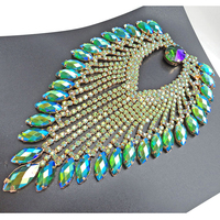 9 12cm Tassel Gold Base Green AB Strass Sewing On Rhinestones Applique Party Dress Decoration