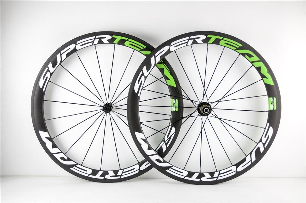 SuperTeam White Green 50mm clincher R13 carbon 3k road bike bicycle wheels bike wheelset