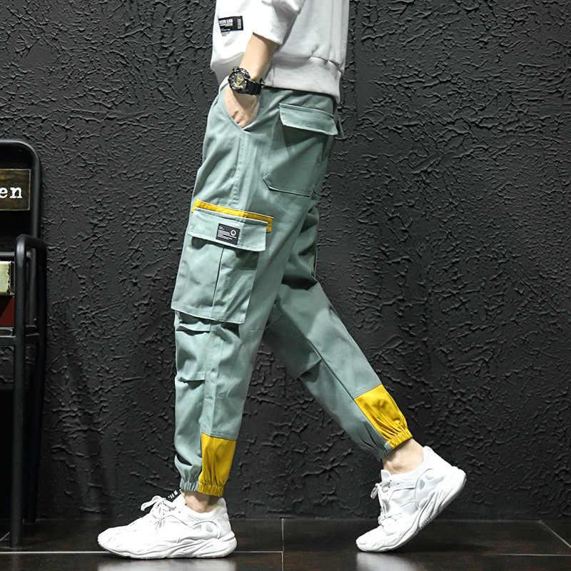 Monos Chic Para Hombre Pantalones Con Bolsillos Moda Coreana Tendencia Callejera Color Verde Y Negro Pantalones Harajuku De Hip Hop 2019 Pantalones Informales Aliexpress