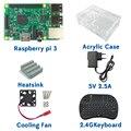 Original 1 GB Ras pi 3 Kit Raspberry Pi 3 Modelo B Placa Acrílica + Caso + ventilador de Refrigeração + SIC dissipador de Calor + 5V2. 5A Carregador de Energia + 2.4G teclado