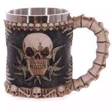 Skull Mugs Double Wall Stainless Steel 3D Coffee Tea Bottle Mug Skull Knight Tankard Dragon Drinking Cup Kup  Milk