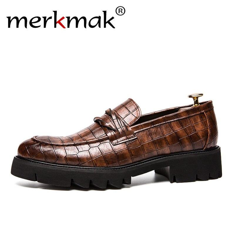 Merkmak Classic Crocodile Skin Oxfords Men Shoes Summer Casual Shoe Man Fit Wedding Party British Men's Footwear Male Flats