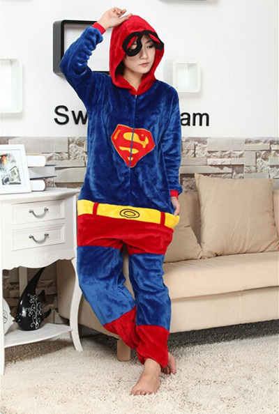 Superman Onesie Unisex Adult Pajamas Cosplay Costume Animal Onesie Sleepwear Size S M L XL
