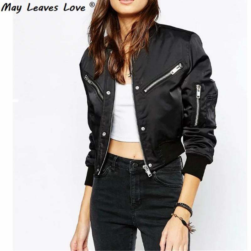 May Leaves Love High Waist Short Design Stand Collar Women Bomber Jackets 2017 Spring Au ...
