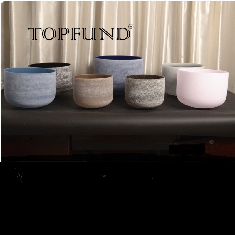 TOPFUND Chakra Tuned Set of 7 Gem Fused Frosted Quartz Crystal Singing Bowls 8''-10'' ,for Meditation yoga practice topfund perfect pitch tuned chakra set of 7pcs colored frosted crystal singing bowls all 10
