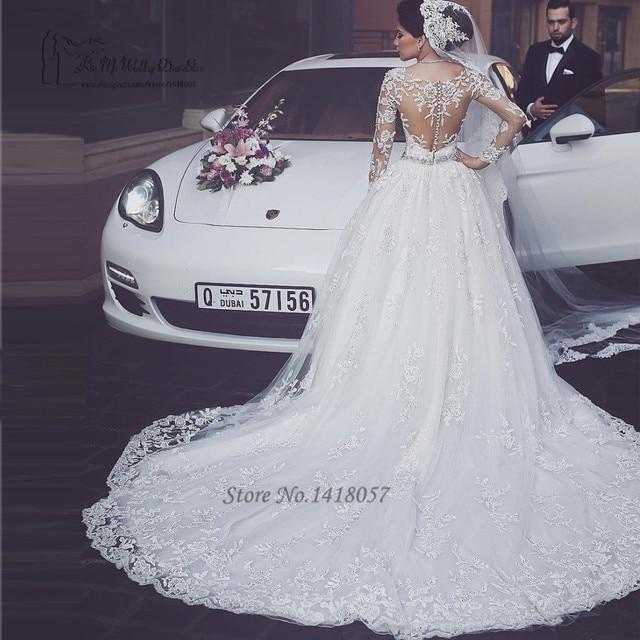 0437adfe490f6 Arapça Gelinlik Türkiye Puf Uzun Kollu Gelinlikler Dantel Kristaller Lüks  Lübnan Gelin Elbise 2017 Vestido de