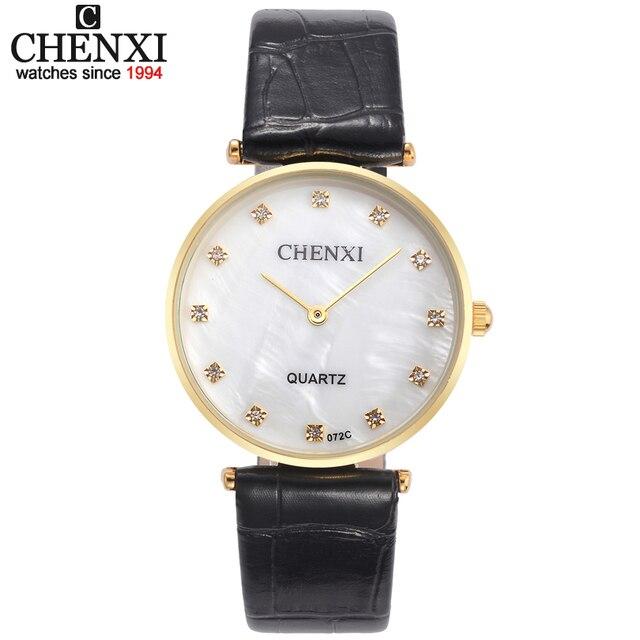 Golden Case lover's Watches Fashion Dress Men Women Rhinestone Quartz-Watch CHEN