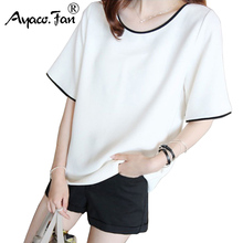 Loose Casual T-Shirts Summer New O-Neck Short Sleeve Solid Women T-Shirt for Girls Student Black Whi