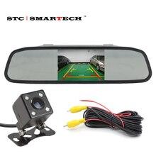 SMARTECH HD 4.3 pulgadas de Coches Aparcamiento Monitor Retrovisor Con Cámara de Visión Trasera LED de Visión Nocturna de la Lente de Cristal
