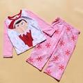 Free Shipping 6 Sets/lot  New 4-10T fleece fabric Children's pajamas suit The Christmas elves fleece nightwear