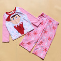 O Envio gratuito de 6 Jogos/lote Novo 4-10 T tecido de lã elfos velo pijamas pijama terno Do Natal das Crianças