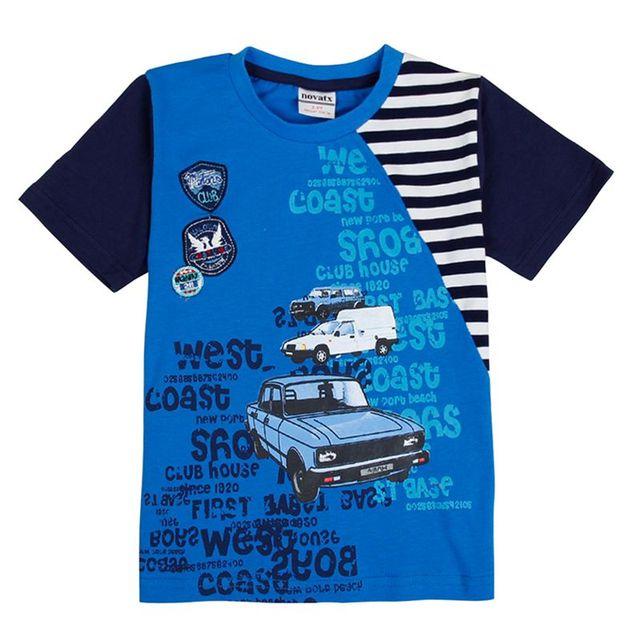 Ropa de los muchachos de la camiseta para los niños coches impresas patchwork de rayas de verano de manga corta 100% algodón de la camiseta ropa niños