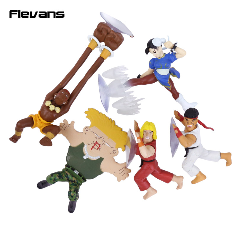 Street Fighter Ryu Guile Ken Chun Li Dhaisim Funny Phone Holder Mini PVC Figures Collectible Model Toys 5pcs/set 10cm 1 6 scale street fighter v chun li action figure with two face and two set of clothes game figures collection model toys