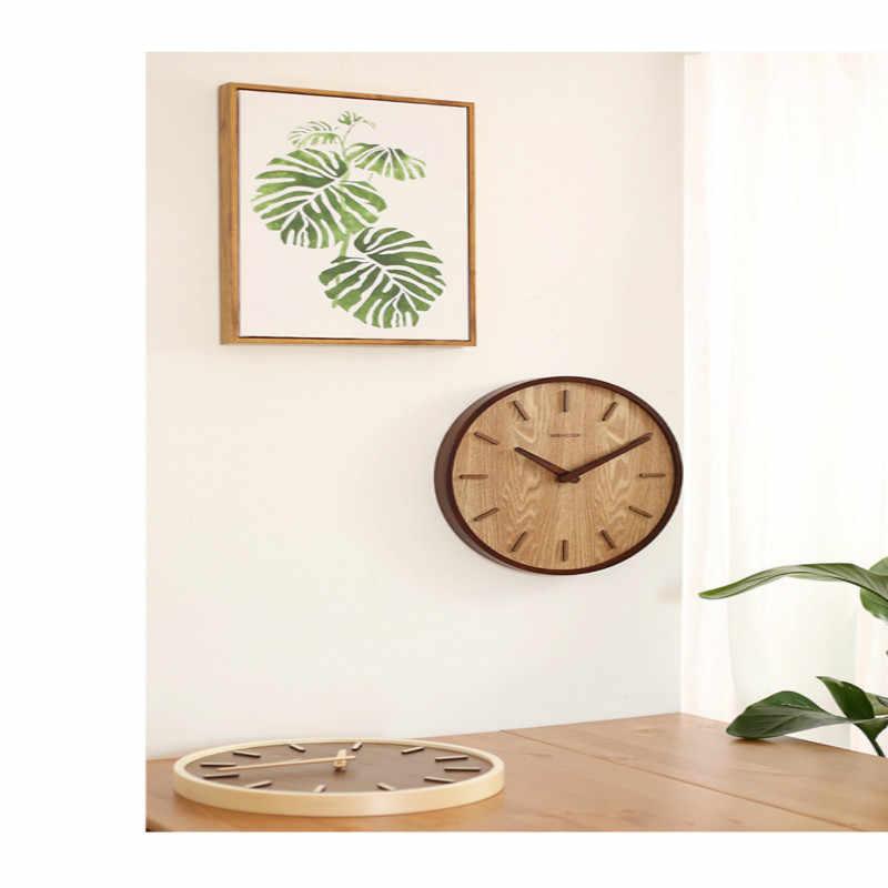 Reloj silencioso sala de estar dormitorio de 14 pulgadas Hogar Japonés Simple decoración moderna reloj colgante de madera reloj de cuarzo WZH628