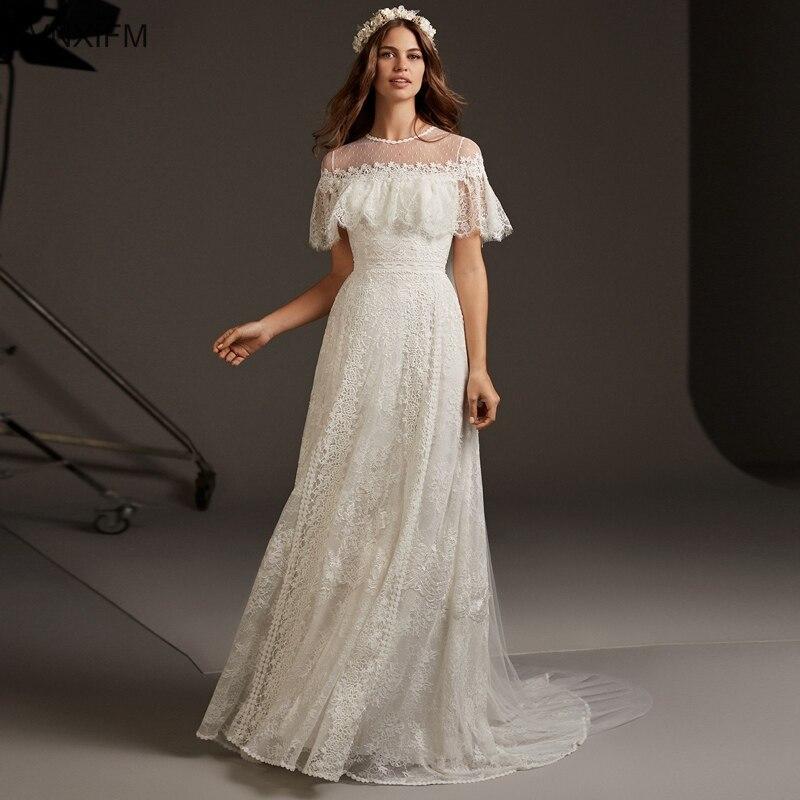 VNXIFM 2019 New A Line Zipper Wedding Dress O Neck Lace Bride Dress Sweep Train Wedding