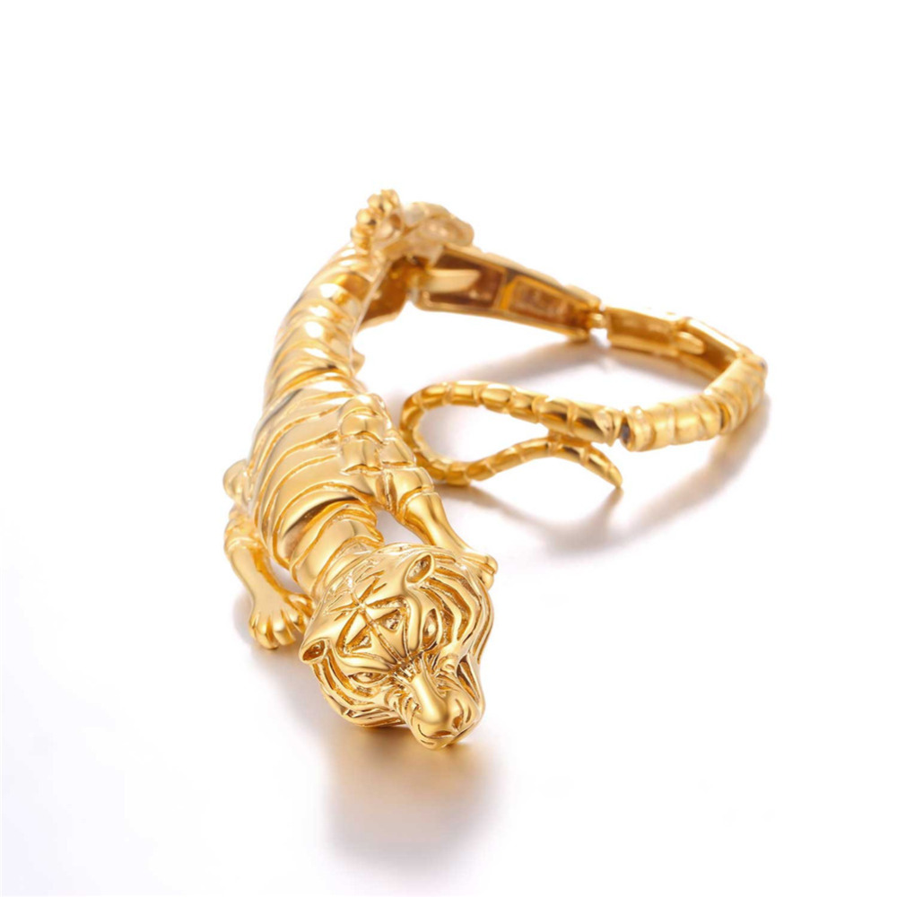 Bracelets d'enveloppement de chaîne d'acier inoxydable des hommes de bracelet de tigre noir H271
