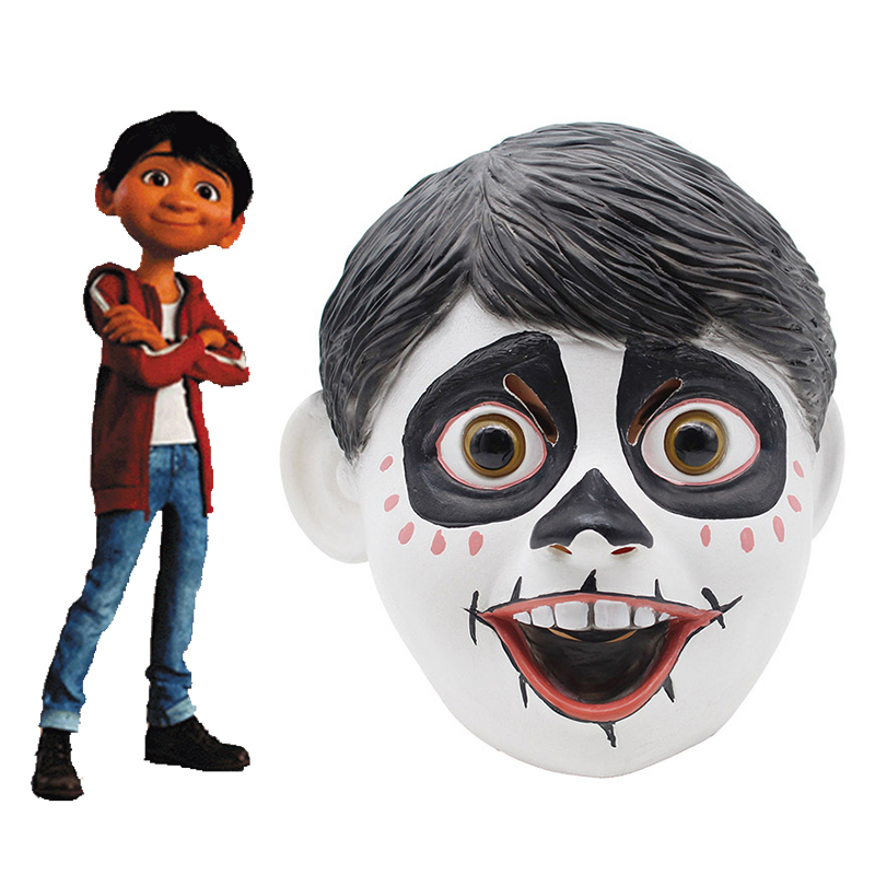 Movie Coco Cosplay Mask Miguel Rivera Costume Anime Headwear Adults Halloween Latex Fancy Helmet Carnival Full Face Props