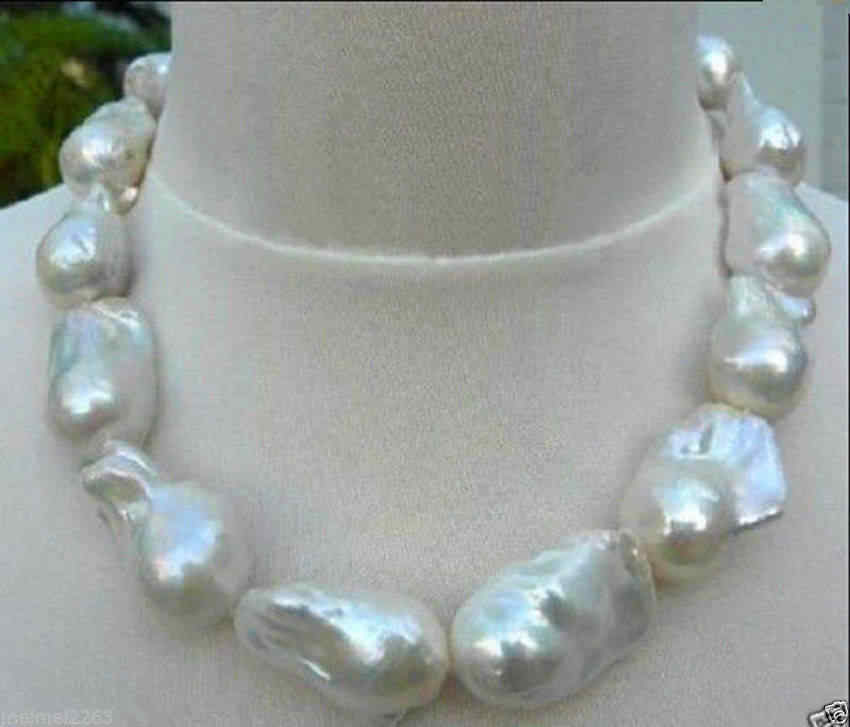 Jewelry REAL HUGE SOUTH SEA WHITE BAROQUE PEARL NECKLACE 17'' AAA
