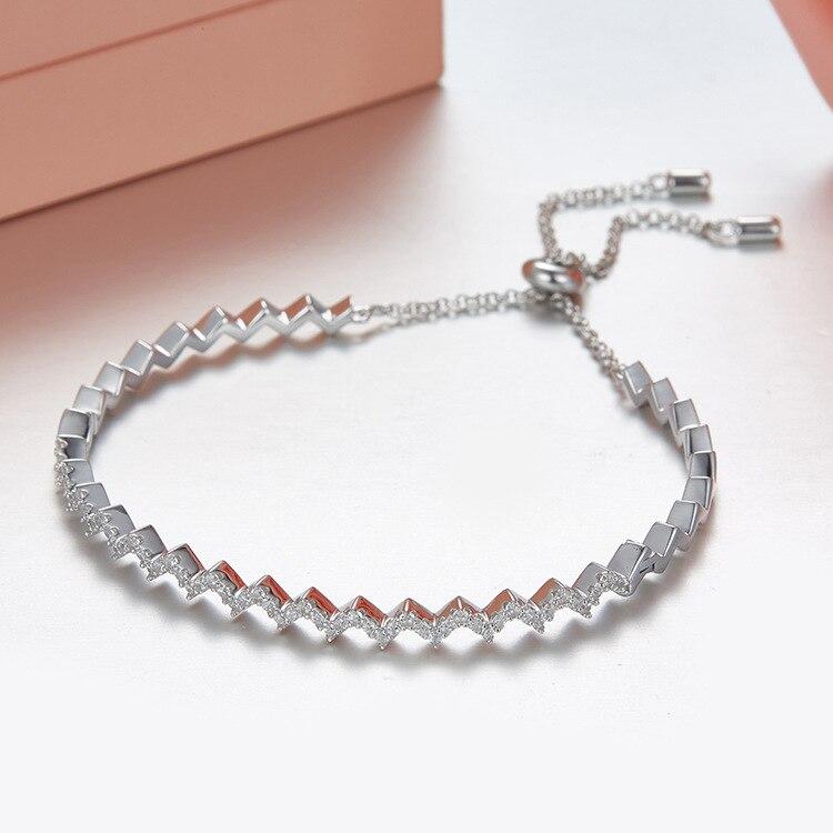 Bracelet en forme de vague Z avec incrustation Mirco en argent sterling S925 pour femmes, bracelet de mariage en or Rose de marque célèbre