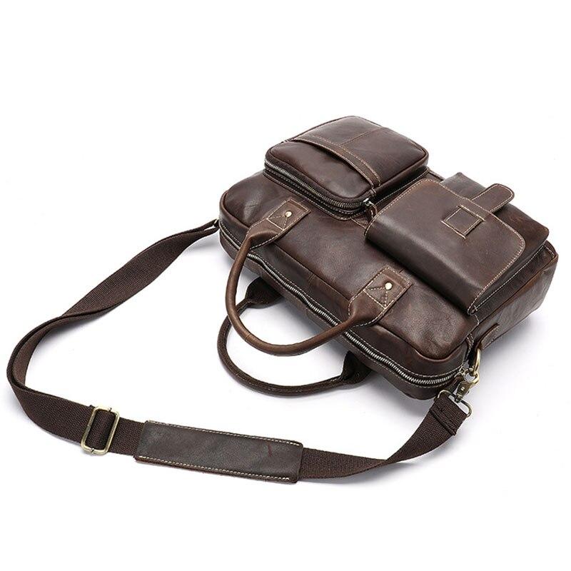 Men Briefcase Genuine Leather  Handbags Large-Capacity Officer shoulder bags Messenger bag lawyer Briefcase Vintage briefcase
