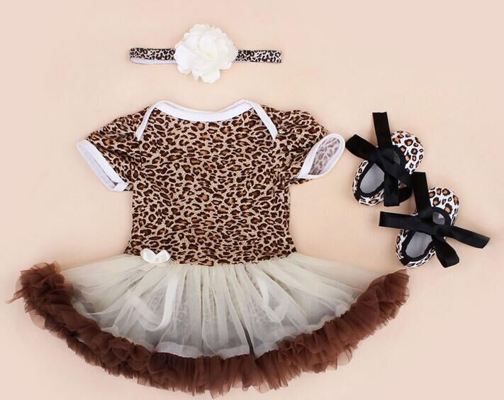 free shipping Girl Clothing Sets Baby outfit set baby leopard romper Lace Tutu Romper Dress Jumpersuit+Headband+Shoes 3pcs/Set