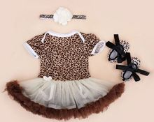 free shipping Girl Clothing Sets Baby outfit set baby leopard romper Lace Tutu Romper Dress Jumpersuit