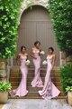 Nuevo 2016 Vintage Blush Rosa Vestidos de Dama de Correas Espaguetis Sirena Largo de Dama de honor Vestido de Fiesta de Prom Vestido de Dama de Honor