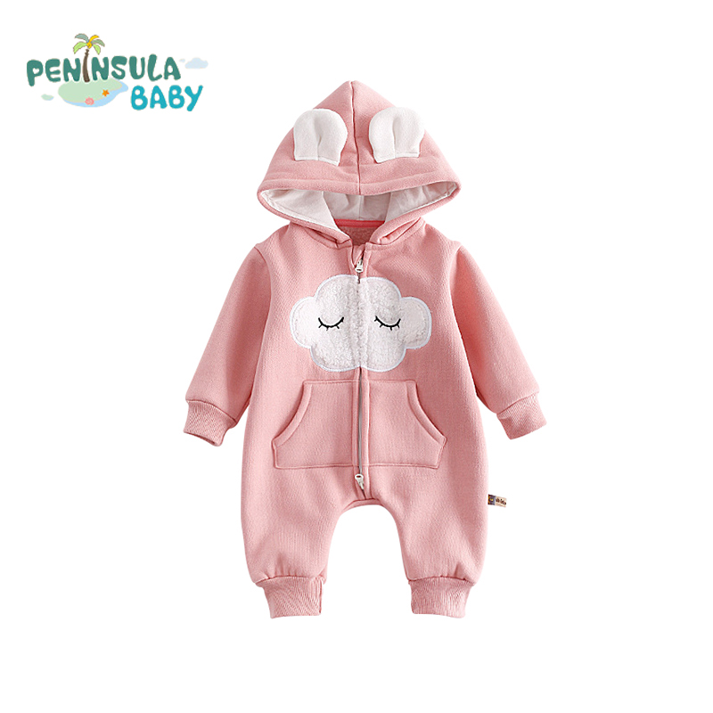 Infant Clothing Hooded Cartoon Funny Baby Rompers Cotton Long Sleeve Kids Clothes Girls Boys Autumn Plus Velvet Warm Jumpsuits baby climb clothing newborn boys girls warm romper spring autumn winter baby cotton knit jumpsuits 0 18m long sleeves rompers