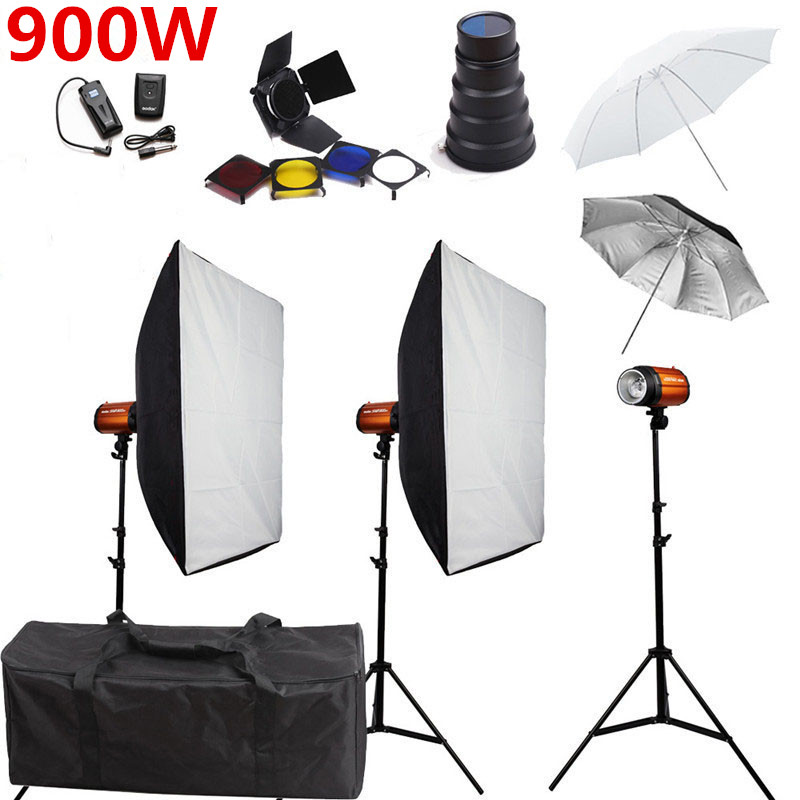 Godox Smart 300SDI Photography Studio Soft Box Flash Lighting Kits 900w 220V Storbe Light+Softbox+Stand Photo Studio Equipments цена 2016