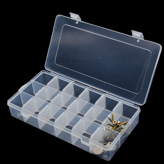 18 Slots Grid Hand Repair Tool Box Jewelry Screws Nuts Nails SMD