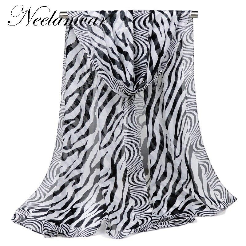 Móda Značka Striped Šátek dámský šifon hedvábný šátek zebra proužek sexy dlouhý měkký šátek 160 * 50cm 2019 jaro a podzim