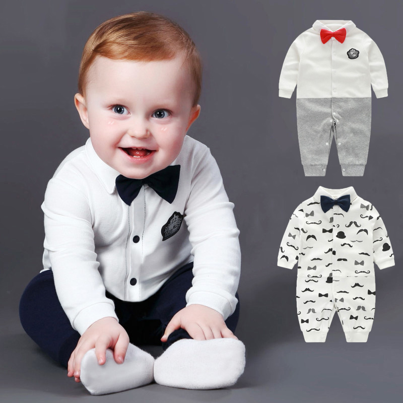 Newborn Baby Boy Rompers Cotton Bowtie Gentleman Suit Summer Kids Baby Leisure Body Suit Clothing Toddler Jumpsuit Clothes Set stuffed animal 40cm gray koala bear plush toy soft mother