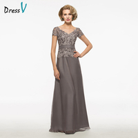Dressv Gray Long Mother Of The Bride Dress A Line Short Sleeves V Neck Lace Button Chiffon Custom Wedding Party Mother Dress