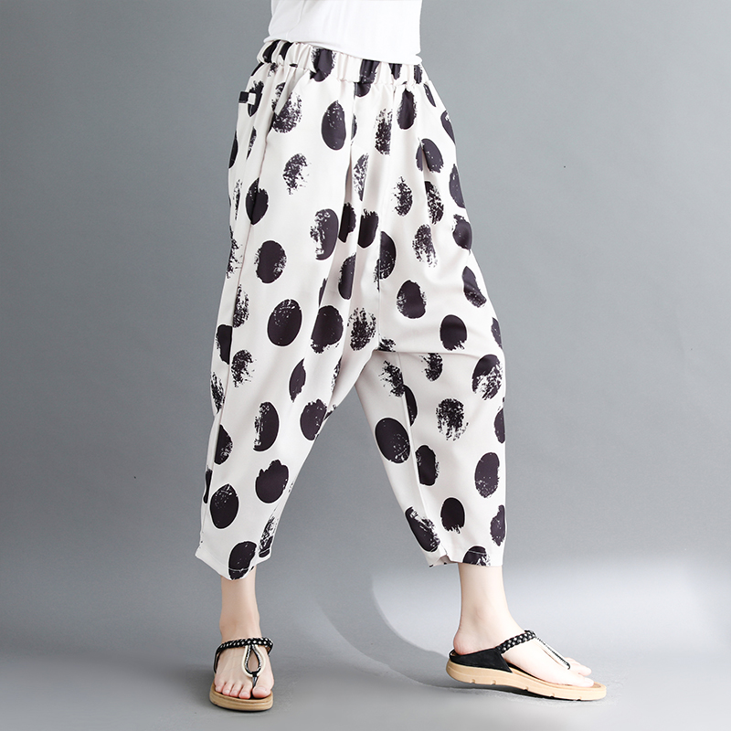 women white and black dot harem pants 2018 summer new loose fashion high-waist button fly female trousers pant 1