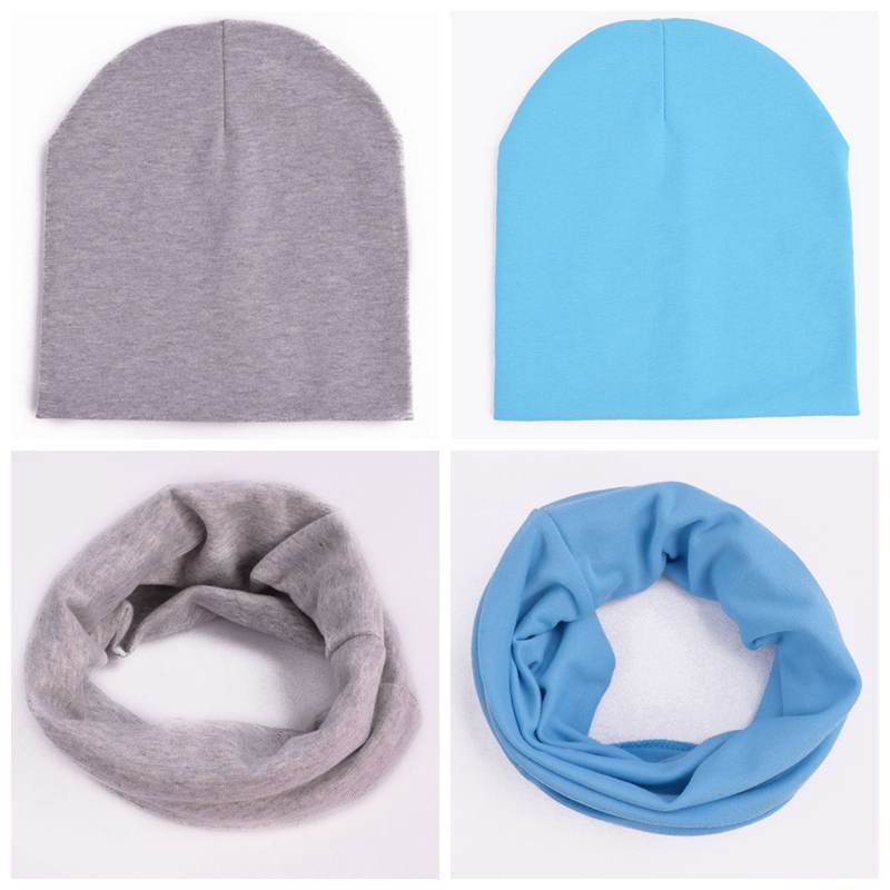 Children/'s Solid color Spring and Autumn Hats and Scarves for Boys and Girls
