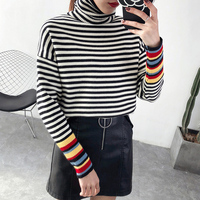 Loose turtleneck female short sleeve head Korean winter wear thick black and white striped rainbow bottoming sweaters