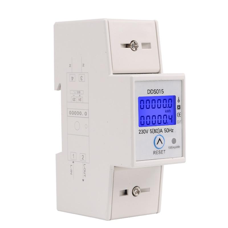 Carril Din monofásico vatímetro Power consumo vatio medidor electrónico de energía kWh 5-80A 230 V AC 50Hz con reajuste función