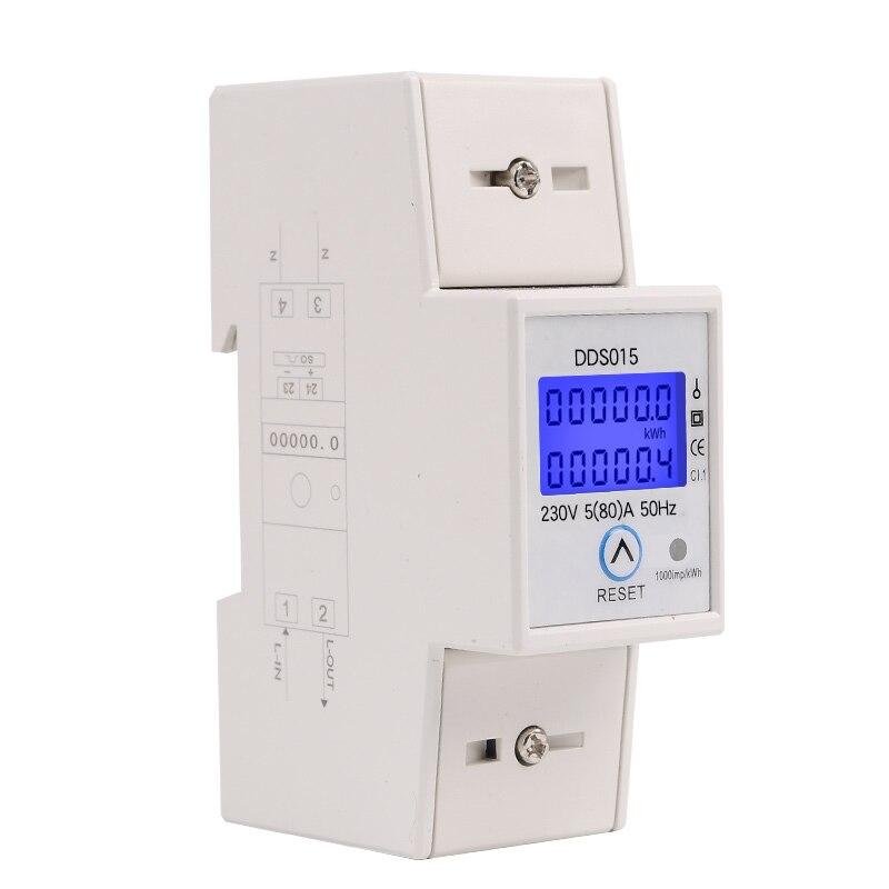 Rail Din Monophasé Wattmètre Watt Consommation Électronique Compteur D'énergie kWh 5-80A 230 V AC 50Hz avec Remise à Zéro fonction