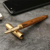 High Quality Handmade Vintage Brass Gift Sign Pen Gel Ink Pen With Clip Black Ink
