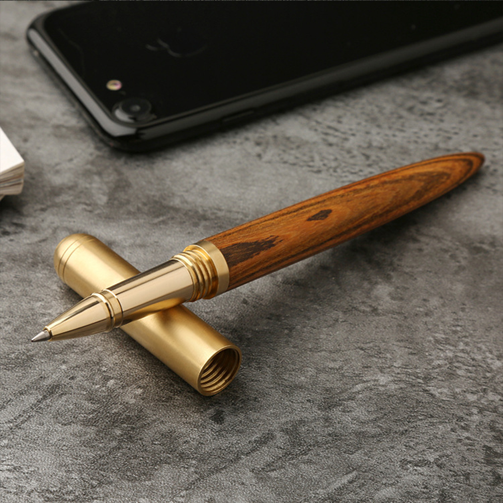 High Quality Handmade Vintage Brass Gift Sign Pen Gel Ink Pen With Clip Black Ink