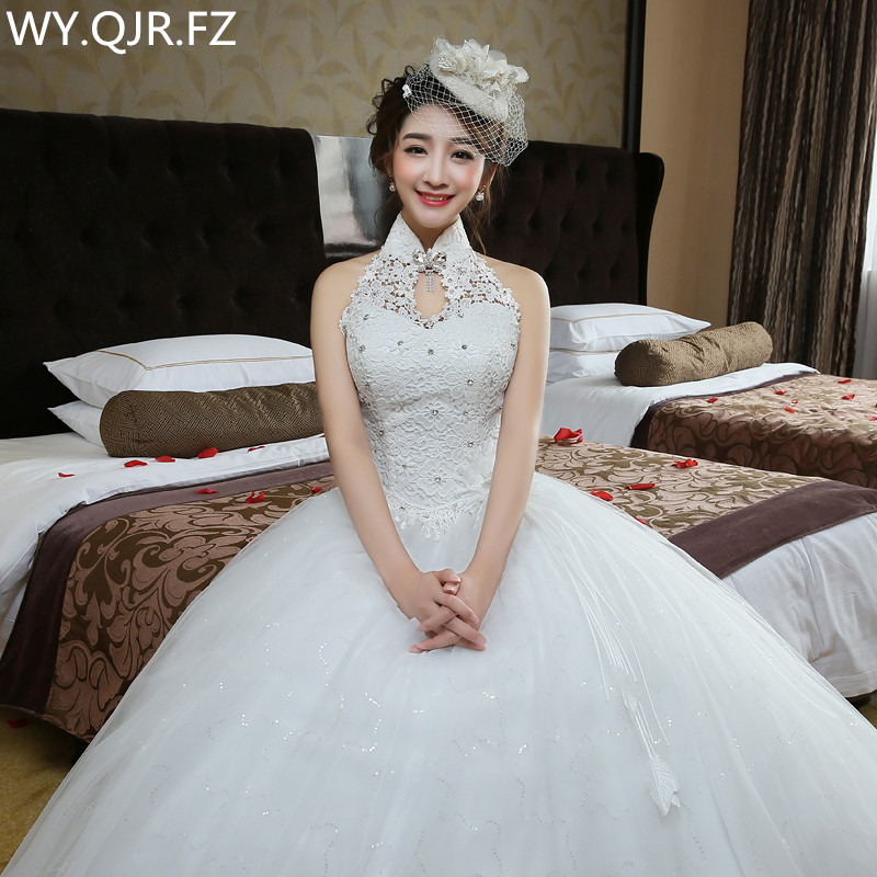 LYG-H72#The Bride Wedding Party Prom Dress 2018 New Lace Wholesale Custom Plus Size High Collar Diamante Bridesmaid Dresses