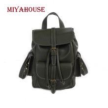 04ea43d280 Miyahouse Solide Couleur Souple PU sacs à dos en cuir Adolescentes De Mode style  coréen sac à dos d'école Femmes Voyage Sacs Fem.