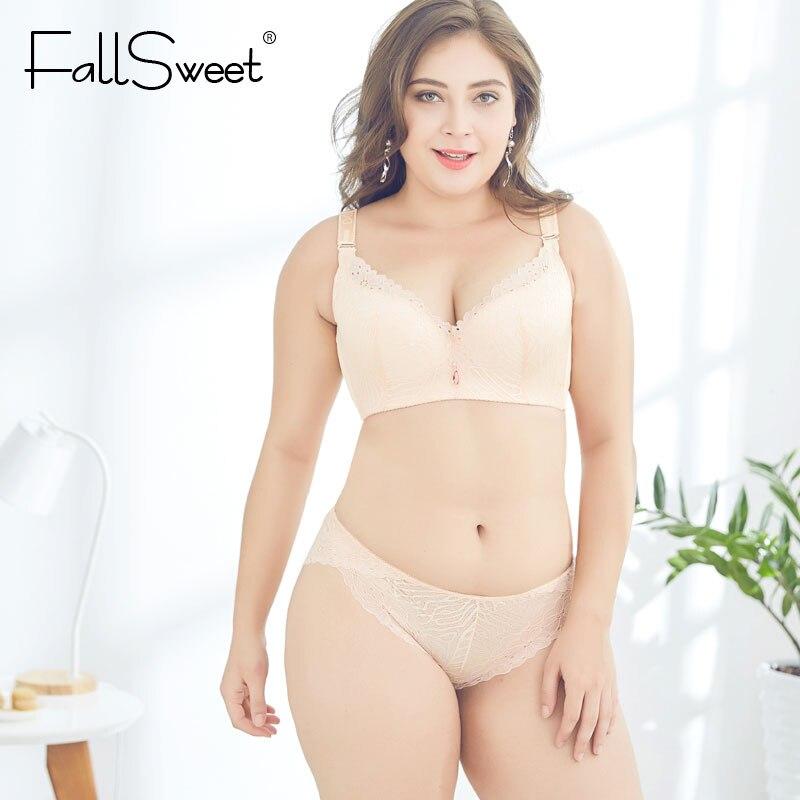 2d57c01b57 FallSweet D E Cup Push Up Bra Set Plus Size Women Lace Lingerie Set  Underwire Underwear Sets Bras and Panty-in Bra   Brief Sets from Underwear    Sleepwears ...