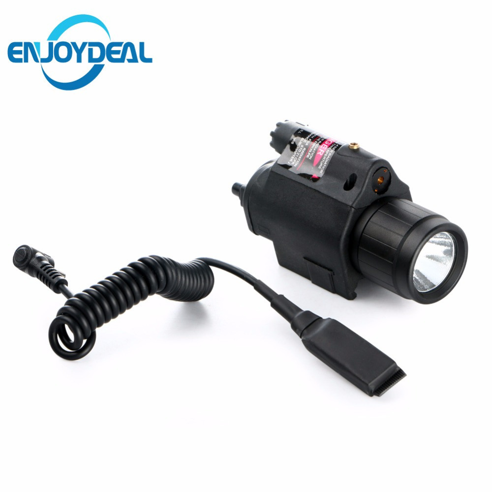 Hot Tactical Insight Red Laser Light CREE Q5 LED 300 Lumens Flashlight Torch Light 2X3V CR123A battery For Pistol Handgun Black high quality 2 in 1 tactical insight red laser cree q5 led 300 lumen flashlight sight combo for pistol gun 2x3v cr123a