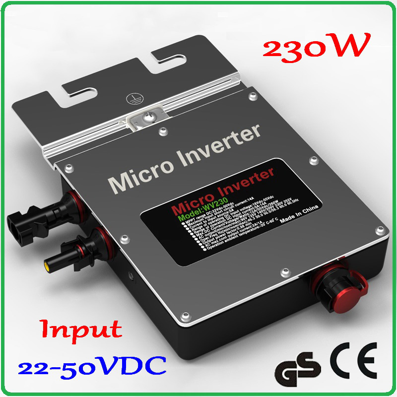 IP67 230W 22-50VDC Solar Grid Tie Inverter / Grid Micro Inverter 180-260VAC or 80-160VAC Output for 200-300W Solar Panel solar micro inverters ip65 waterproof dc22 50v input to ac output 80 160v 180 260v 300w