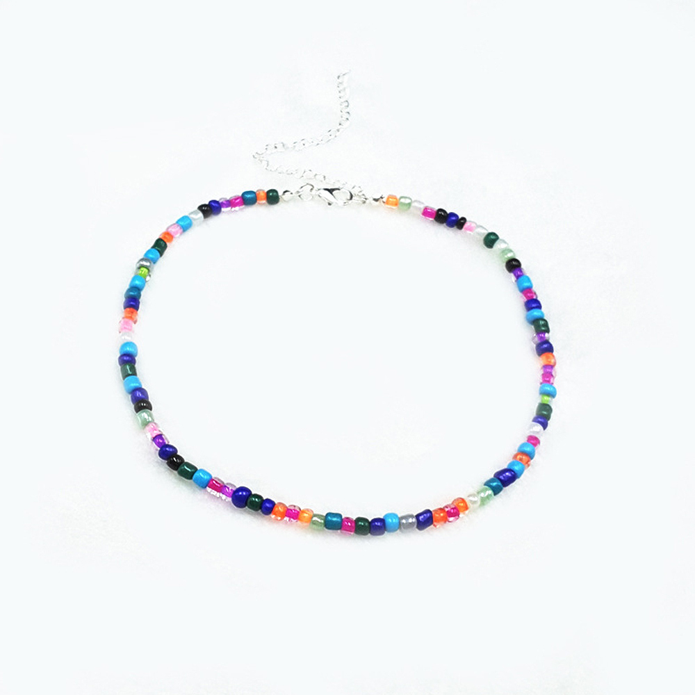 Holiday Gift Colored Rice Beads Necklace Jewelry Women