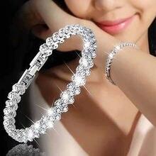 Женский теннисный браслет с кристаллами 3 цвета роскошный свадебный