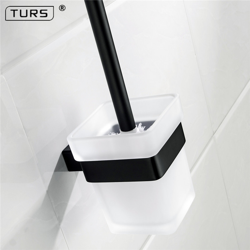 где купить SUS 304 Stainless Steel Toilet Brush Holders Bathroom Black Matte Effect Toilet Brush Cup Holder Rack Bathroom Brush Shelf по лучшей цене