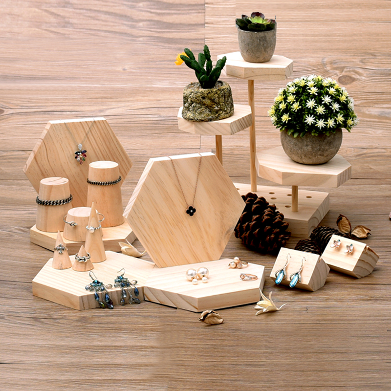 Pointed Jewelry Display Holder Wood Ring Holder Wood Bracelets Holder Pendant Necklace Earrings Holder Jewellery Display Stand